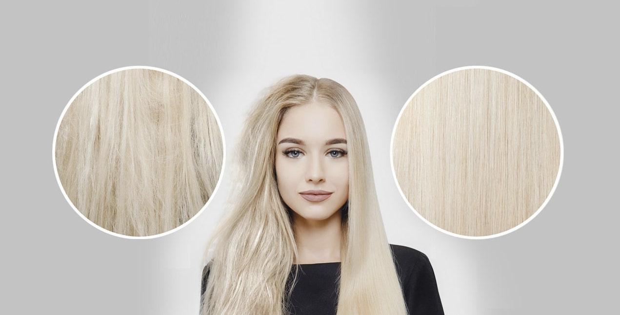 Ejemplo de alisado vegetal para el cabello que da forma natural y brillo.